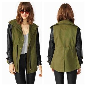 Nasty Gal Military Jacket Fuex Leather Small
